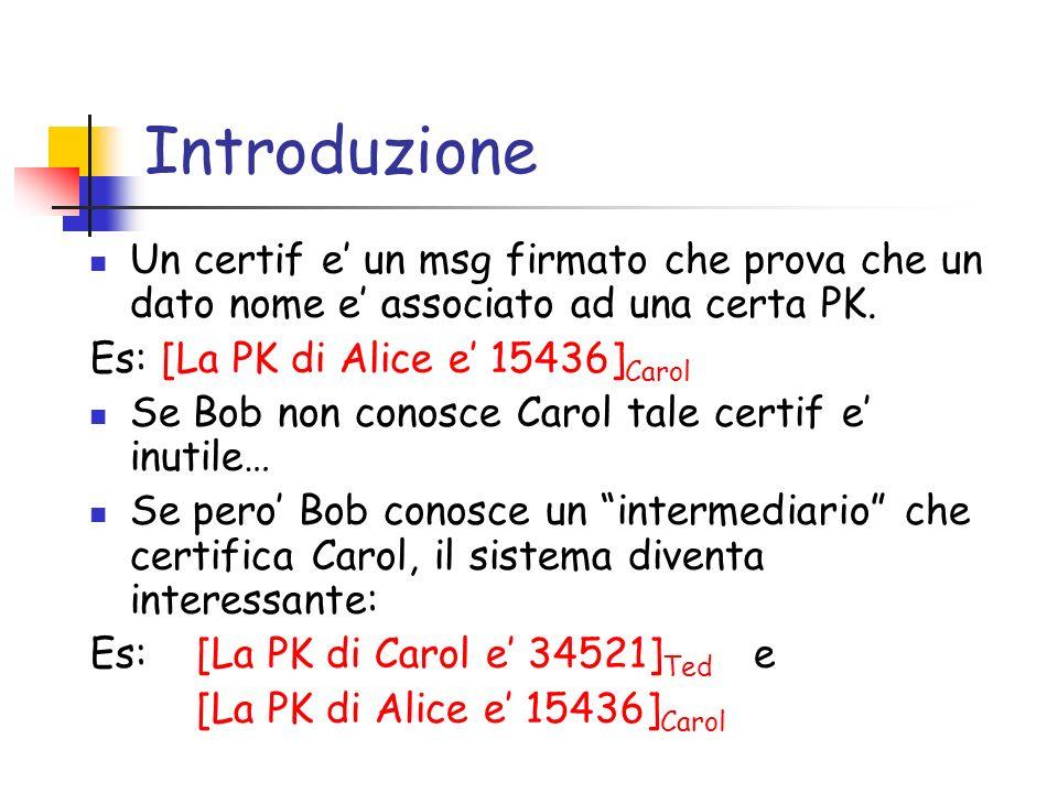 IntroduzioneUn certif e' un msg firmato che prova che un dato nome e' associato ad una certa PK. Es: [La PK di Alice e' 15436]Carol.